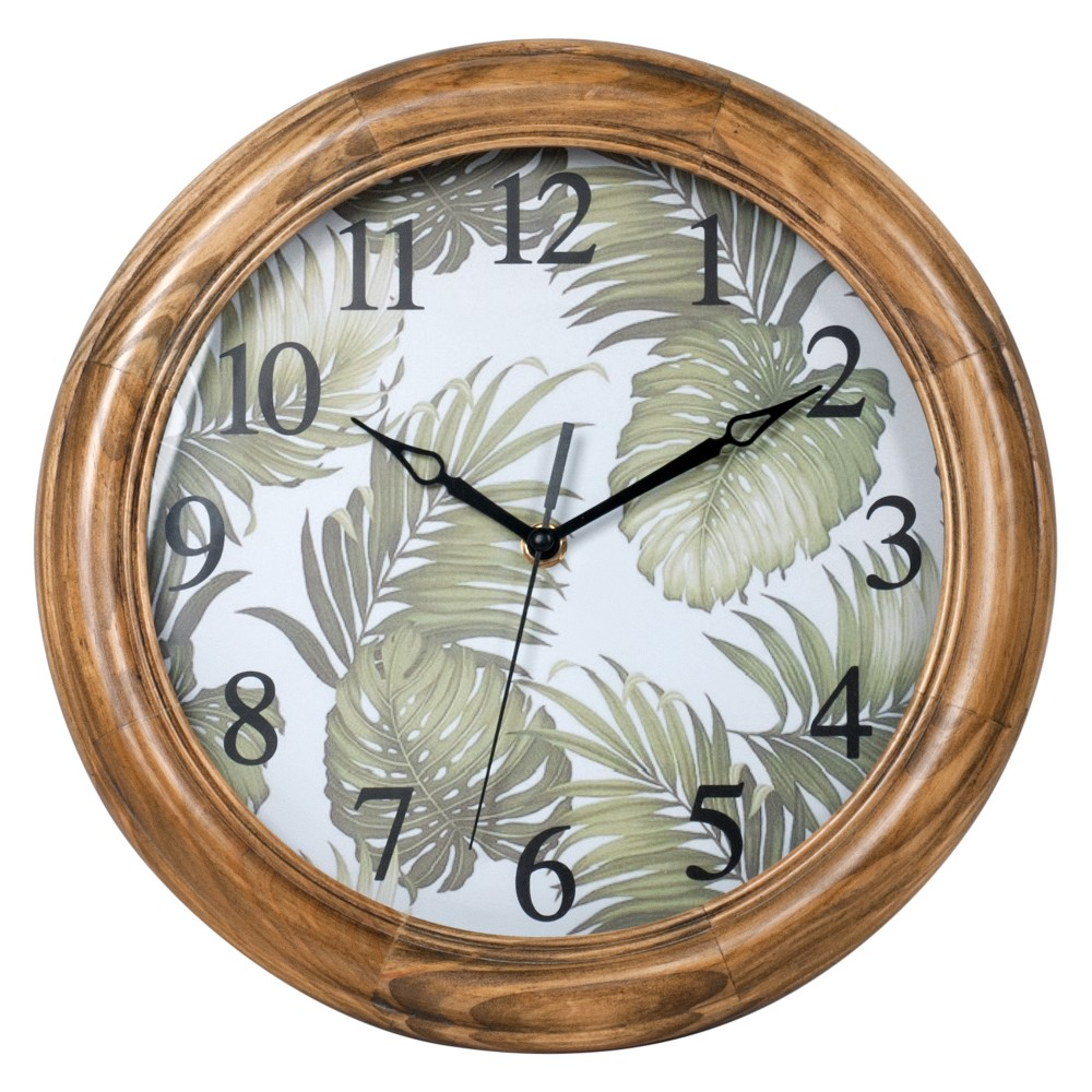 "Image of ""12"""" Round Wall Clock with Botanical Leaves - MZB"""
