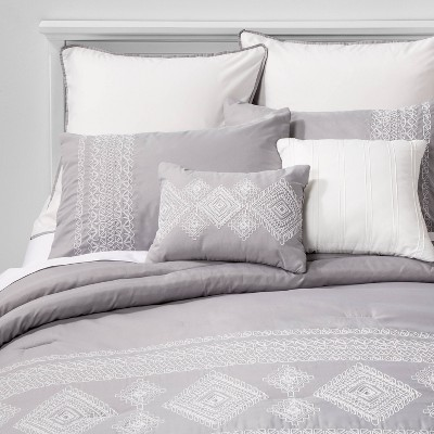 Full Anoma Geometric Comforter Set Gray - Hallmart Collectibles