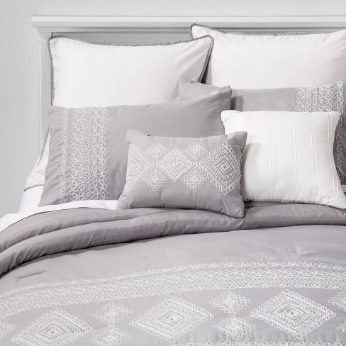 Queen or King Size Comforter Set Blue Grey Bedding Bedspread Sheets Bedskirt 8PC