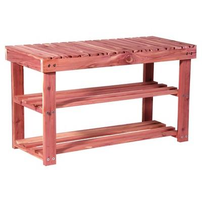 Household Essentials 2 Shelves & 6 Pairs Cedar Shoe Rack Bench Natural Cedar