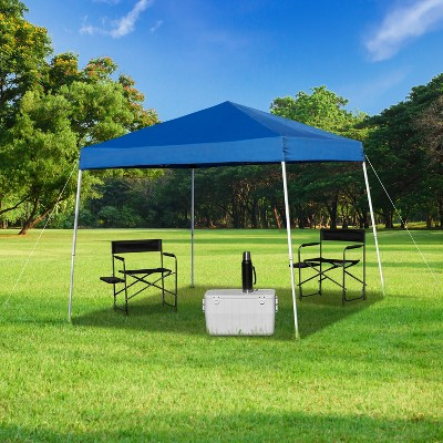 Emma and Oliver 8'x8' Weather Resistant Easy Pop Up Slanted Leg Canopy Tent with Carry Bag