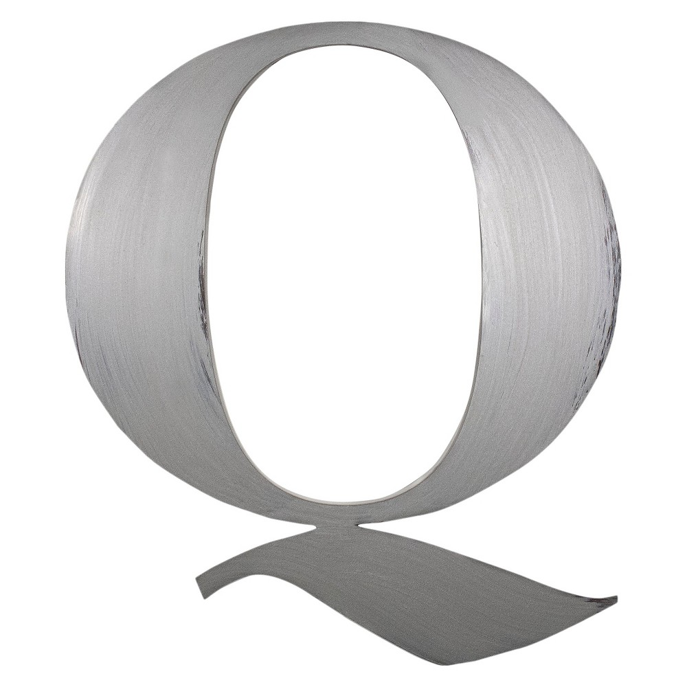 Letter2Word Hand Painted Letter Q 3D Wall Sculpture -Nickel, Silver
