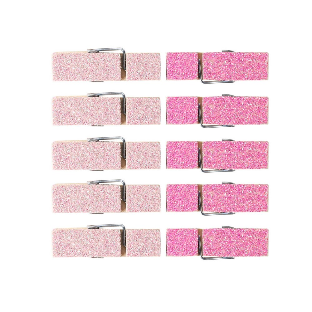 10ct Glitter Mini Clothes Pins Pink - Spritz