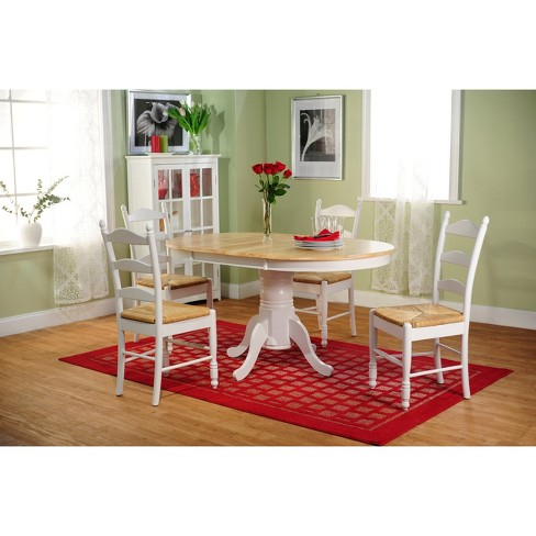 5 Piece Farmhouse Ladder Back Dining Table Set Wood White