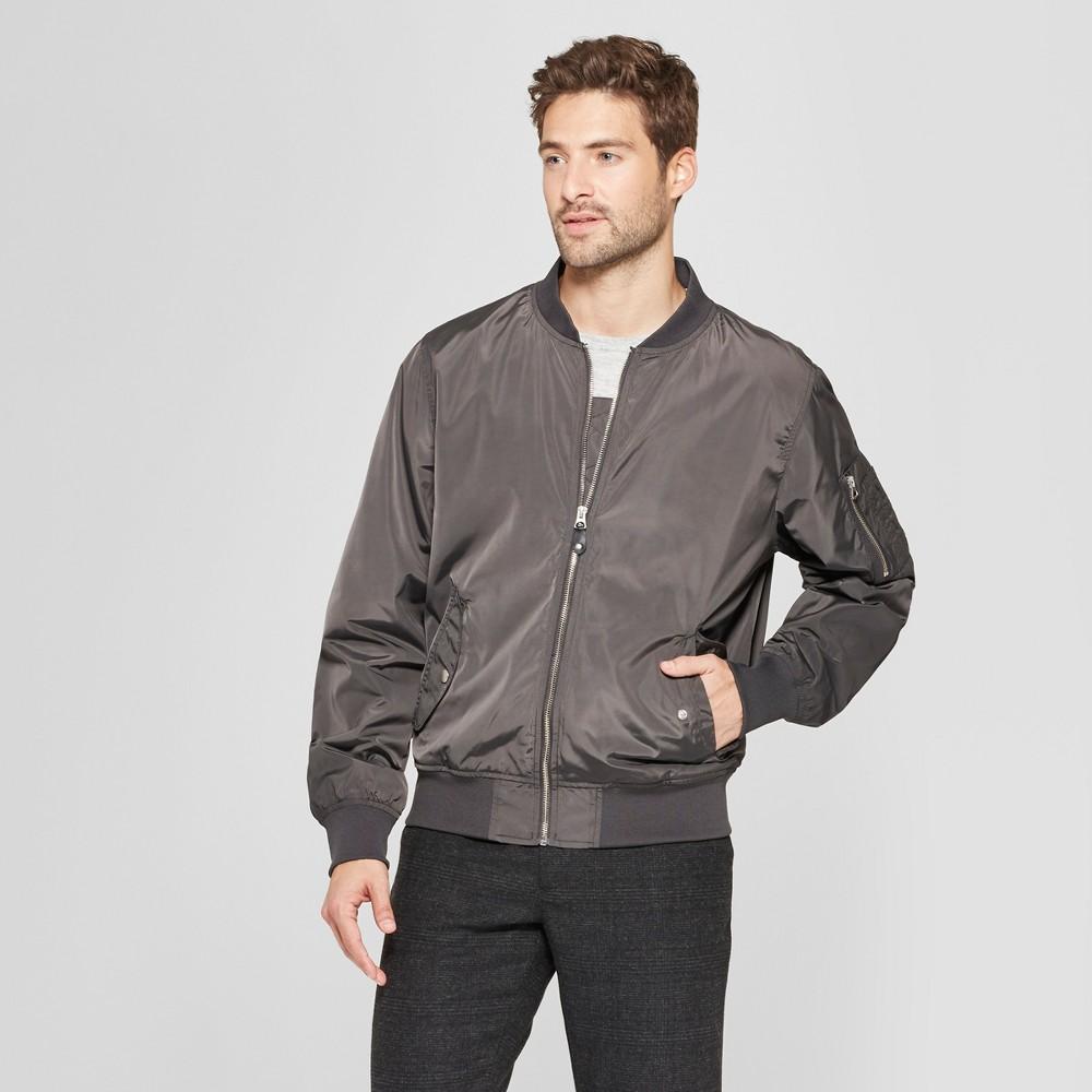 Men's Matte Bomber Jacket - Goodfellow & Co Charcoal (Grey) L
