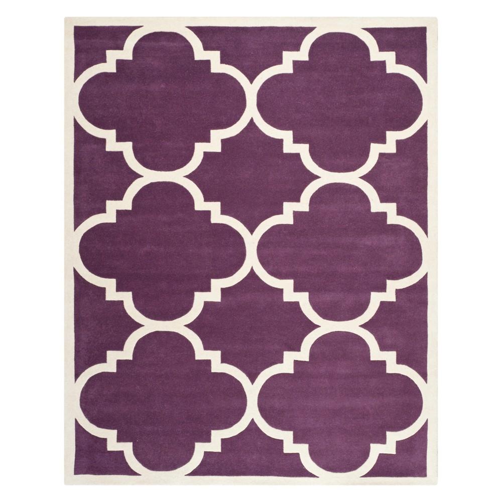8'9X12' Quatrefoil Design Tufted Area Rug Purple/Ivory - Safavieh