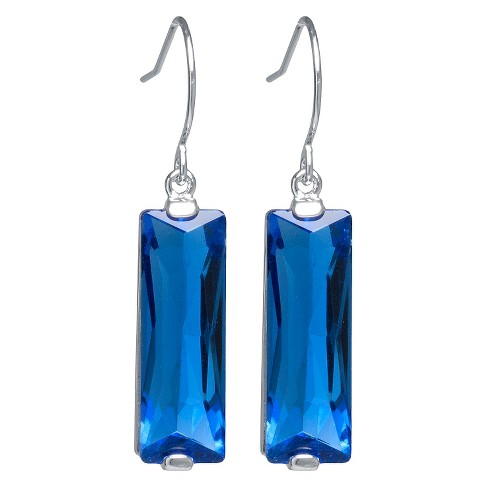 Silver Plated Brass Rectangular Blue Crystal Drop Earrings - image 1 of 1