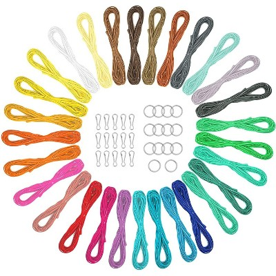31 Colors String Gimp Plastic Lacing Cord for Bracelets Scoubidou Craft Kits with Snap Clip Hooks and Keychain Rings