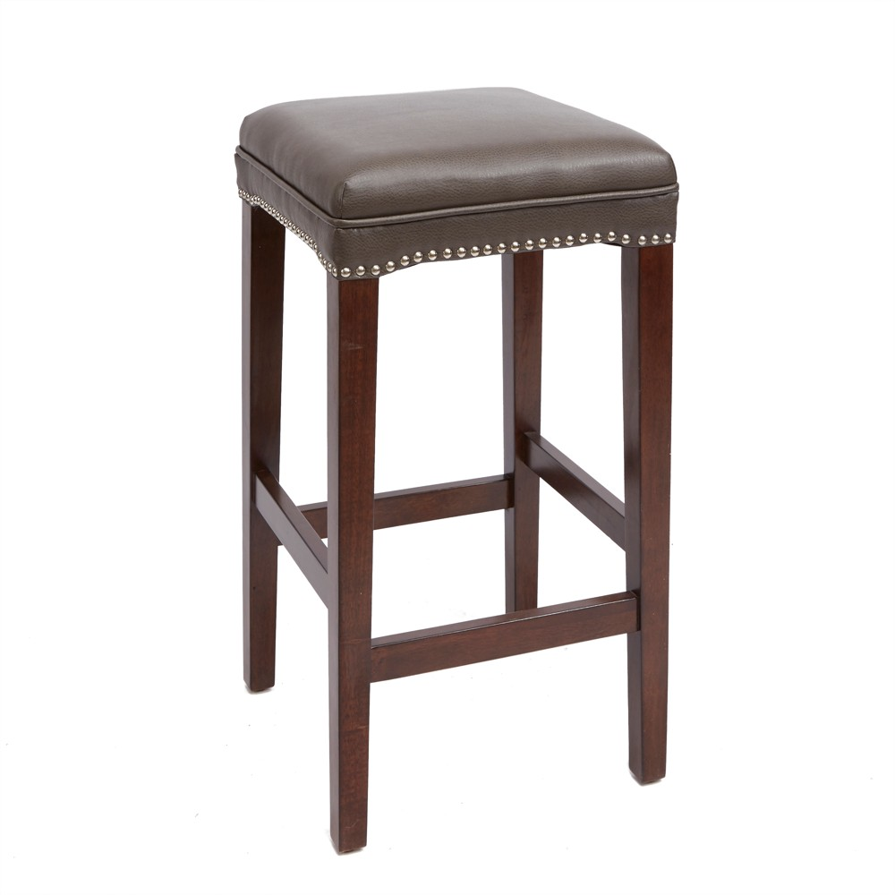 "Image of ""29"""" Dover Upholstered Wooden Saddle Stool - Silverwood"""