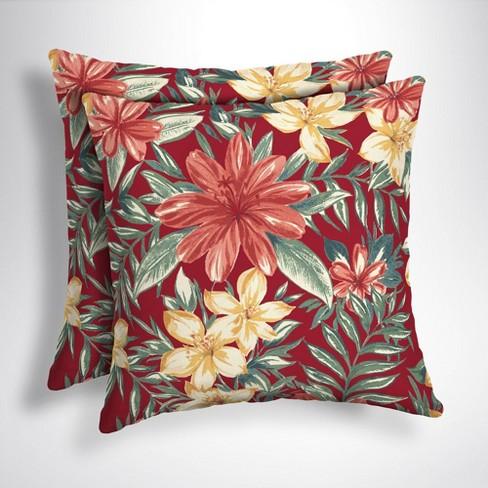 2pk Square Clarissa Tropical Outdoor Throw Pillows Ruby Arden