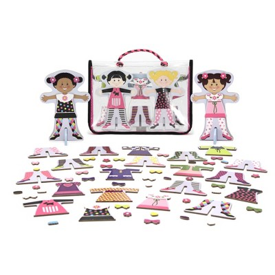 Melissa & Doug Tops and Tights Magnetic Dress-Up Wooden Doll Pretend Play Set (56+pc)