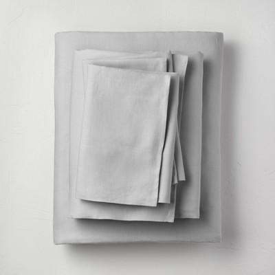 King 100% Washed Linen Solid Sheet Set Light Gray - Casaluna™