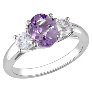 Amethyst and Created White Sapphire Ring in Sterling Silver - Purple/White, Women