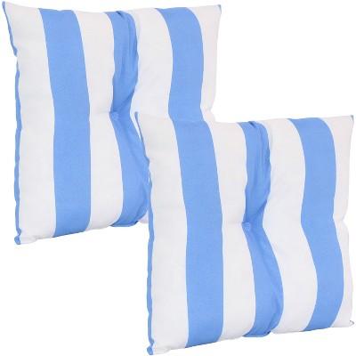 "19"" Square Tufted Decorative Outdoor Pillow - Set of 2 - Blue Stripe - Sunnydaze Decor"