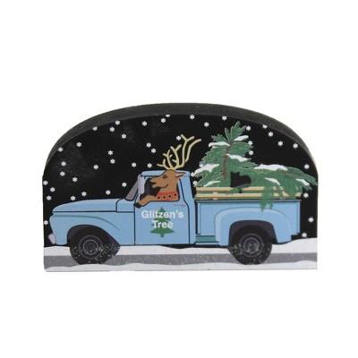 "Cats Meow Village 1.75"" Nort Pole Glitzens Tree Service 2020 Christmas Truck Reindeer  -  Decorative Figurines"
