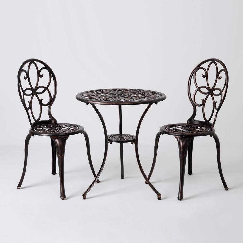 Image of 3pc Cast Aluminum Patio Bistro Set Antique Bronze - Balkene Home