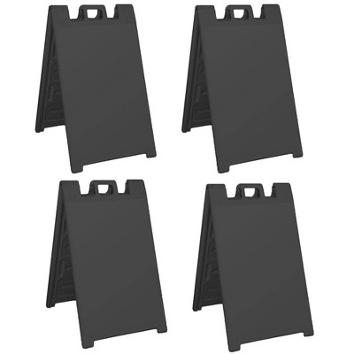 Plasticade Signicade Folding Portable Plastic A Frame Sidewalk Store Sign Stand for Sales, Events, Parking, and More, Black (4 Pack)