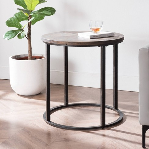 Lymedon Round Reclaimed Wood End Table, Round Metal End Tables