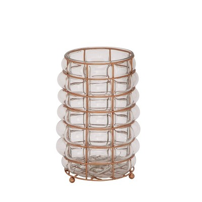 "11"" x 6"" Modern Glass/Iron Candle Holder - Olivia & May"