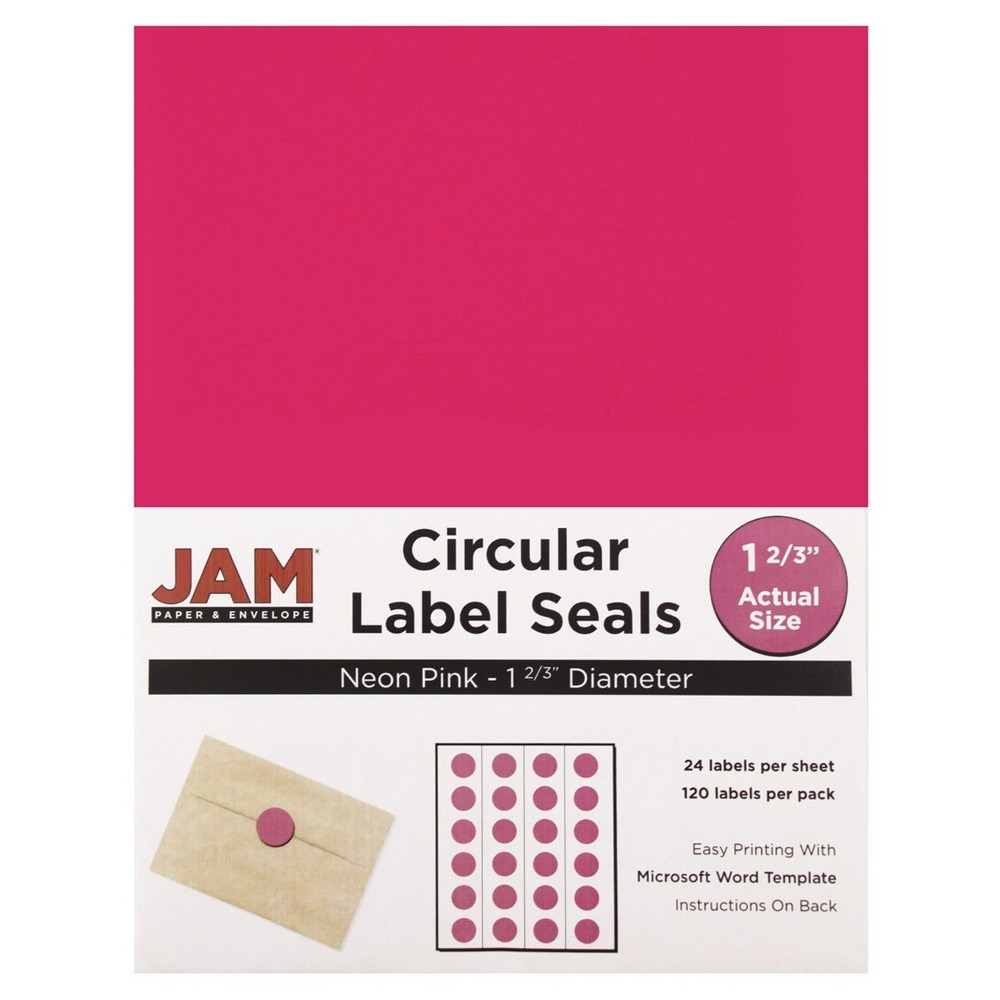 JAM Circle Sticker Seals 1 2/3 120ct - Neon Pink