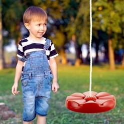 Hey! Play! Kids Adjustable Backyard Disc Swing -Red