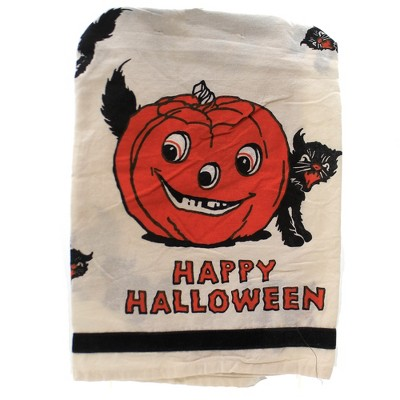 """Tabletop 28.0"""" Happy Halloween Dish Towel Kitchen 100% Cotton Clean Up Primitives By Kathy  -  Kitchen Towel"""
