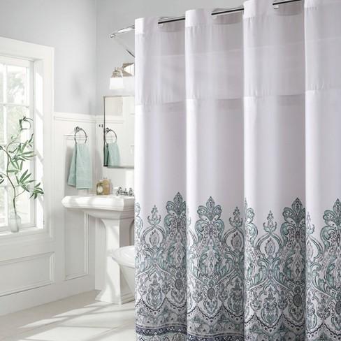Hookless Damask Border Shower Curtain With Liner Blue Target