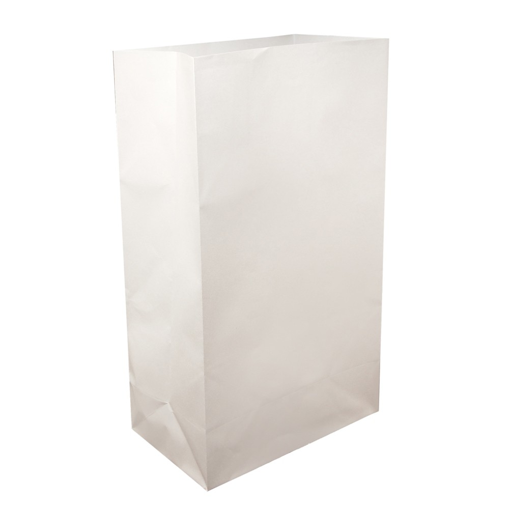 Image of 12ct Flame Resistant Paper Luminaria Bags White - LumaBase