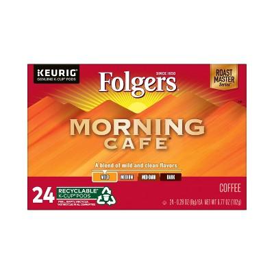 Folgers Morning Cafe Dark Roast Coffee - Keurig K-Cup Pods - 24ct