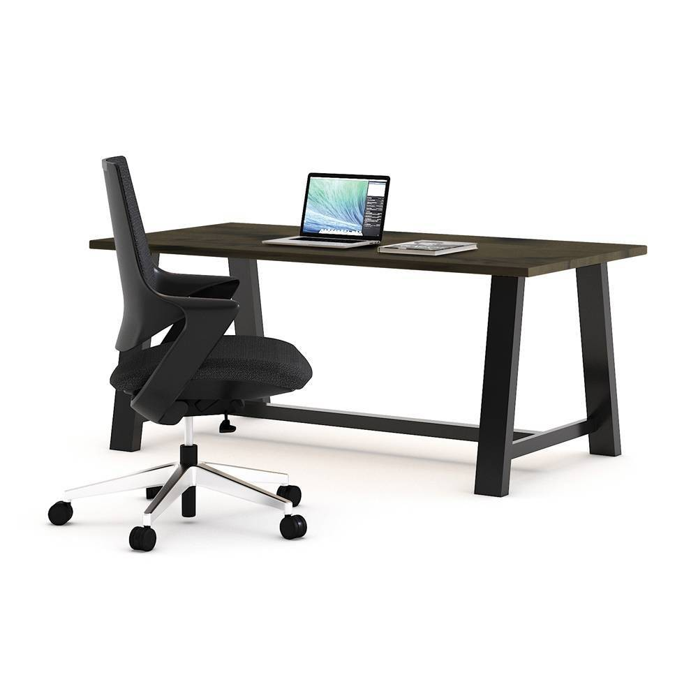 Mia Office Desk with Chair Barnwood/Black - Olio Designs