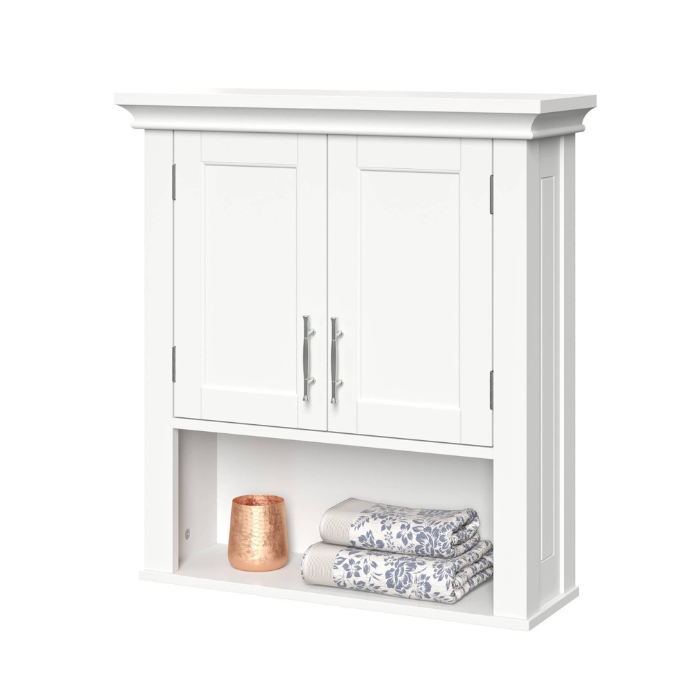 Image of 2 Door Wall Cabinet with Open Shelf White