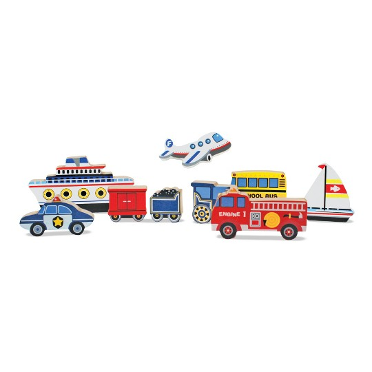 Melissa & Doug Doug Vehicles and Tools Wooden Chunky Puzzle Bundle 2pc image number null