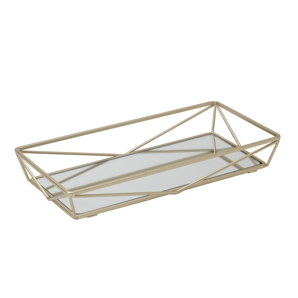 Image of Geometric Mirrored Vanity Tray Gold - Home Details