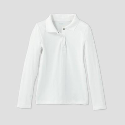 Girls' Adaptive Long Sleeve Polo Shirt - Cat & Jack™ White