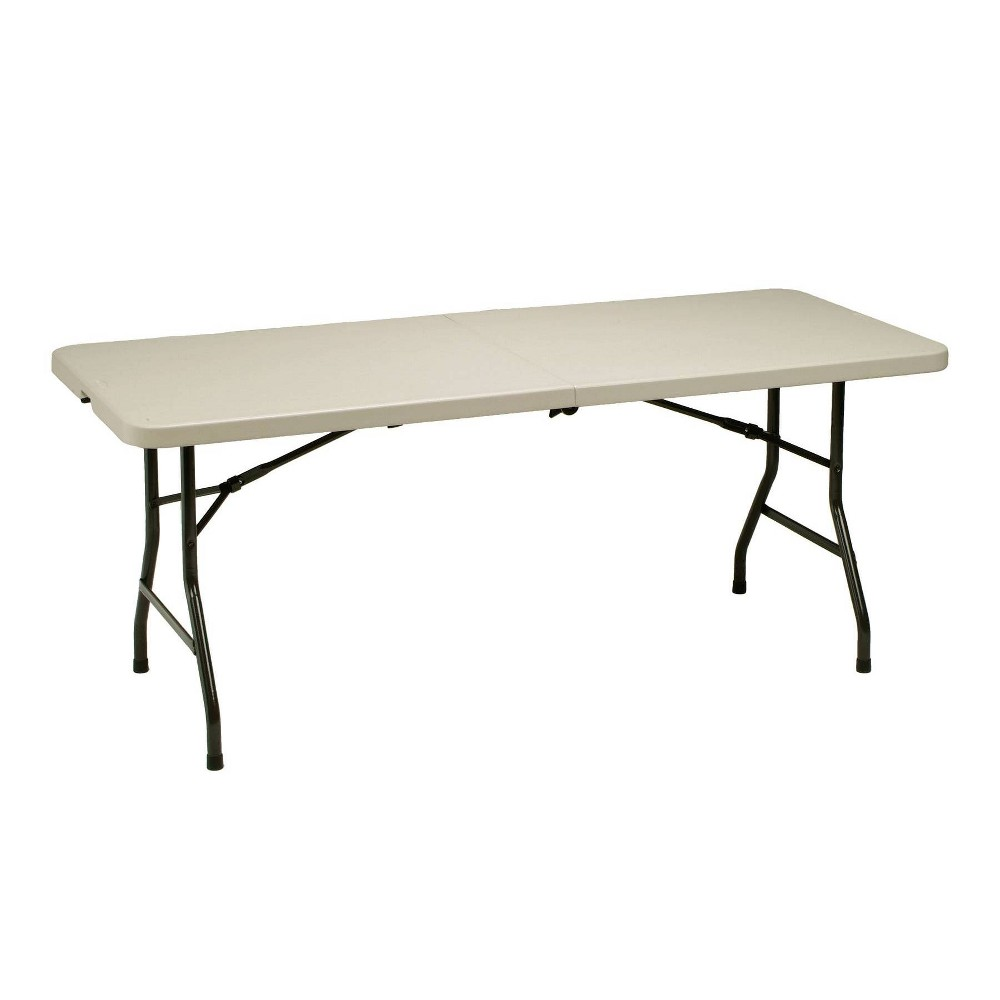 Image of 6' Heavy Duty Utility Fold In Half Table Cream - Meco, Beige