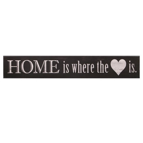 6 X36 Home Is Where The Heart Is Wood Wall Art Black Patton Wall Decor