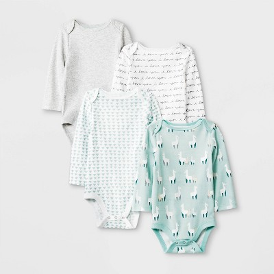 Baby 4pk Llama Love Long Sleeve Bodysuit - Cloud Island™ White/Green/Gray 0-3M