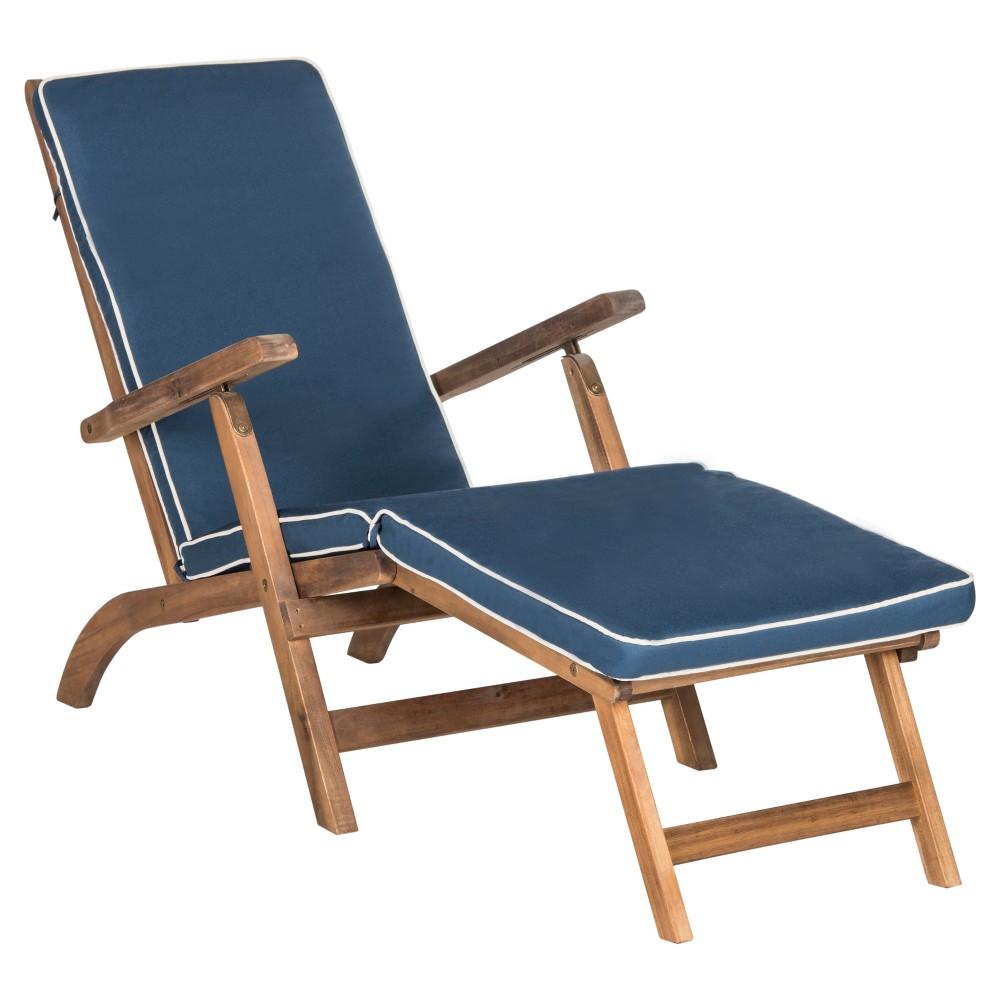 Palmdale Folding Lounge Chair - Teak Brown / Navy - Safavieh, Brown/Blue