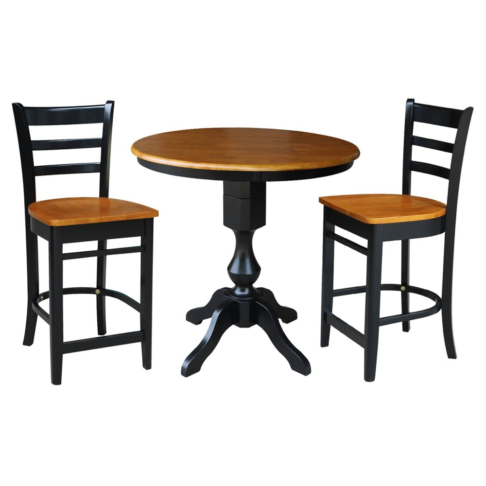 36 34 James Round Pedestal Counter Height Dining Set With 2 Emily Stools Black Cherry International Concepts