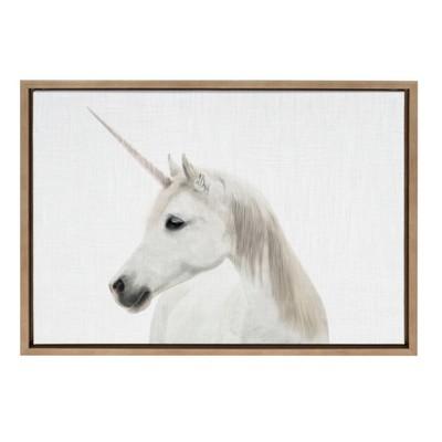 "18"" x 24"" Sylvie Unicorn Framed Canvas by Simon Te Tai Gold - Kate and Laurel"