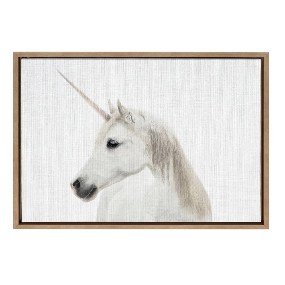 """Image of """"18""""""""x24"""""""" Slyvie Unicorn Framed Canvas By Simon Te Tai Gold - Kate and Laurel, Beige"""""""