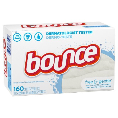 Bounce Fabric Softener Dryer Sheets Free & Gentle - 160ct
