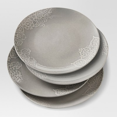 Tilla Stoneware Dinner Plate 10   Gray - Set of 4 - Threshold™