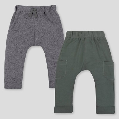 Lamaze Baby 2pk Organic Cotton Jogger Pants - Green/Gray 3M
