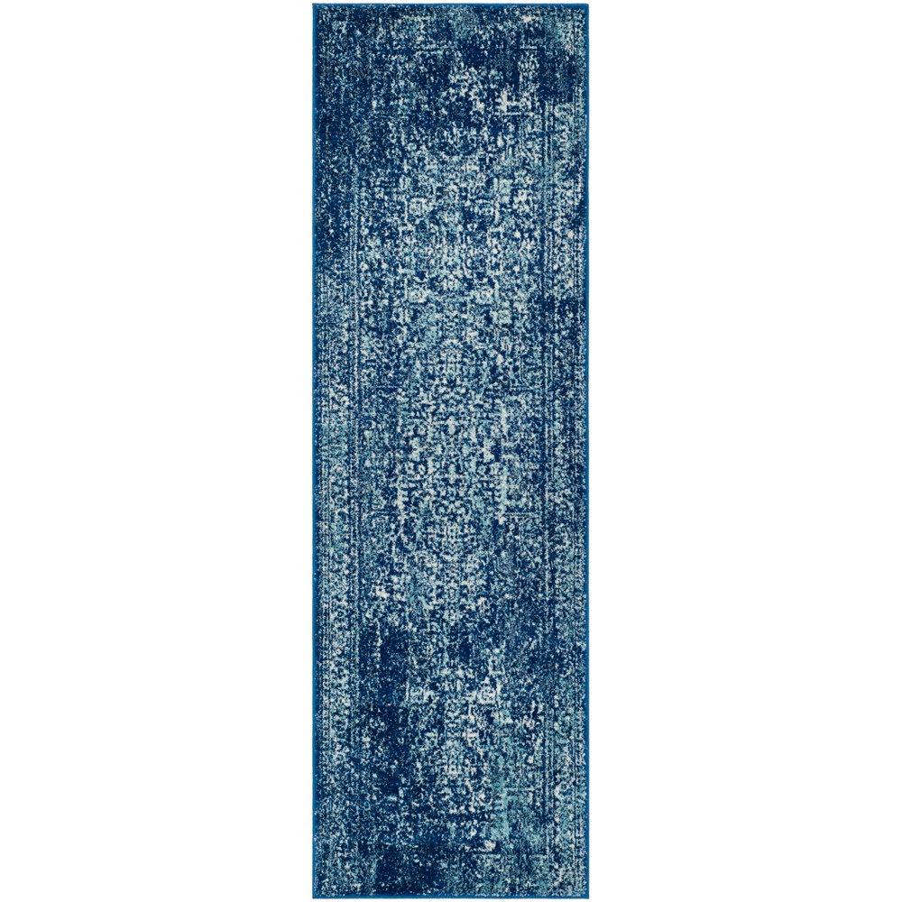 2'2X15' Loomed Medallion Runner Rug Navy - Safavieh, Blue/Ivory