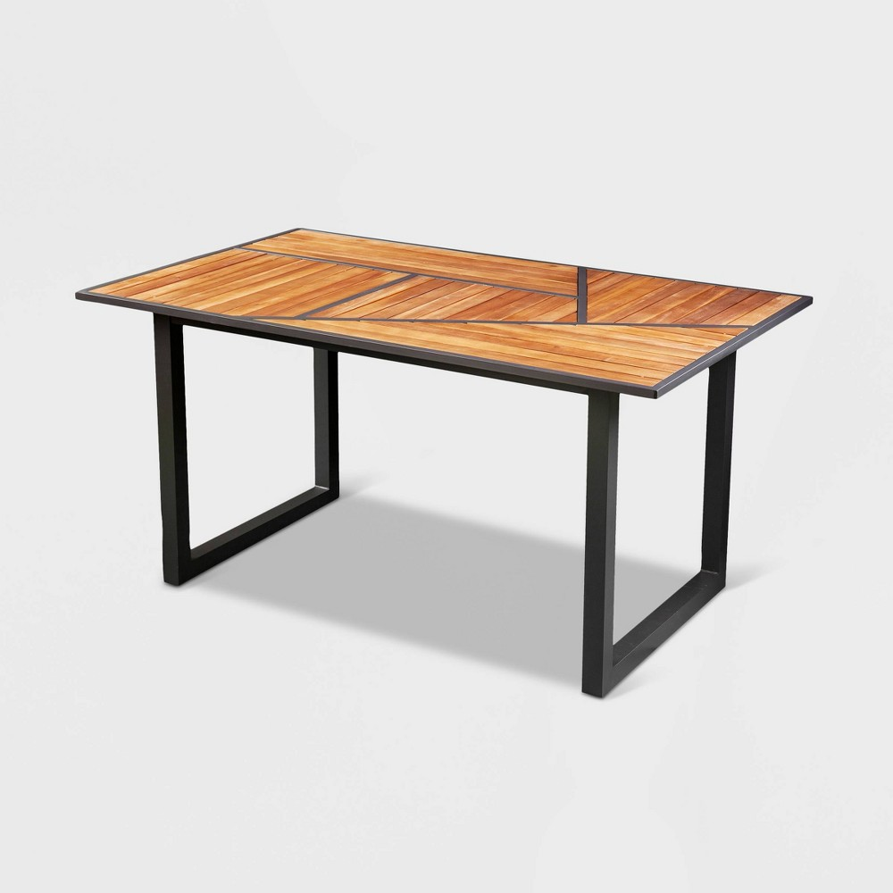 Image of Velnew Patio Dining Table - Brown - Aiden Lane