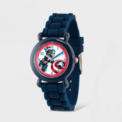 Kids' Marvel Avengers Captain America Plastic Time Teacher Watch - Blue