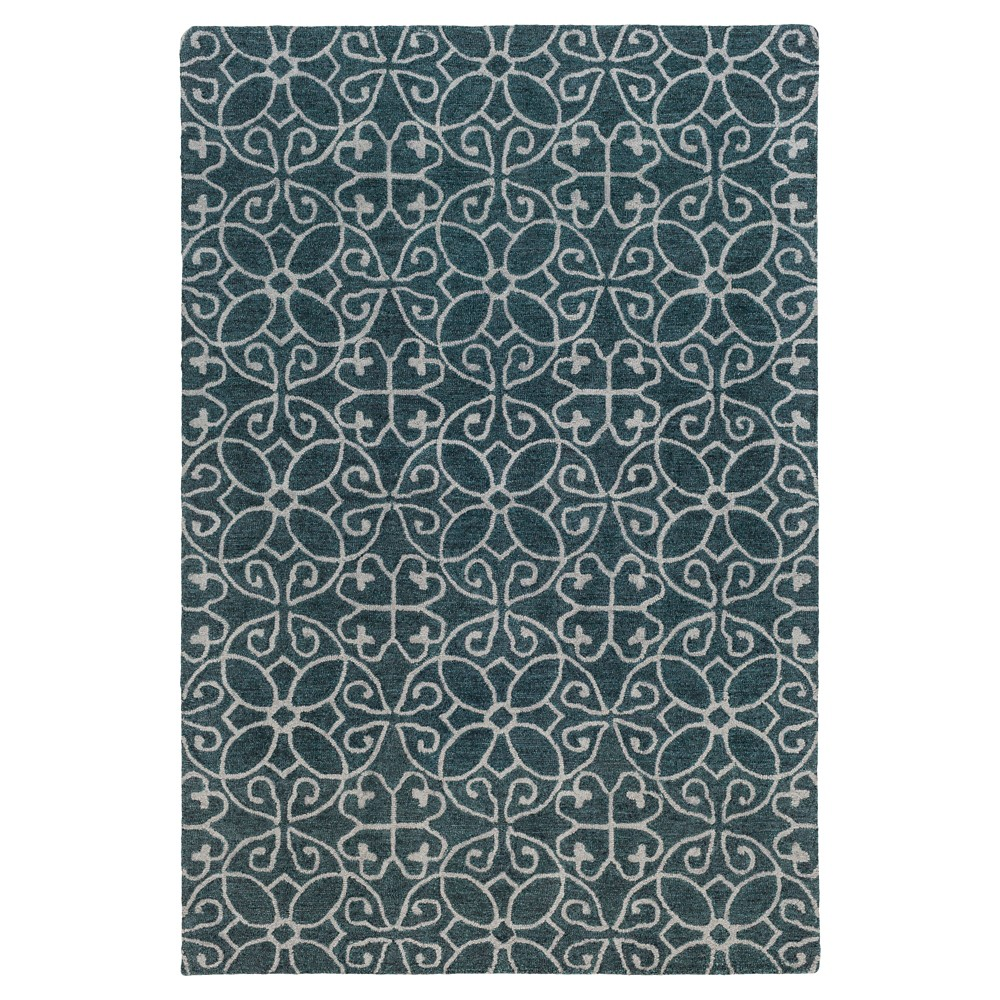 Teal (Blue) Solid Hooked Area Rug - (5'X7'6) - Surya