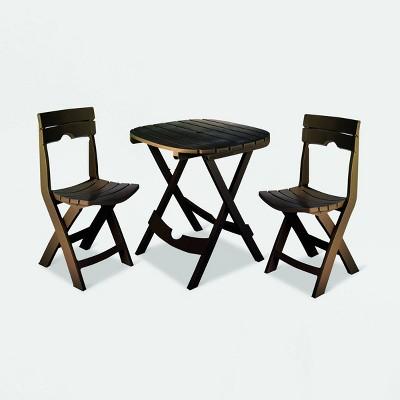 3pc Patio Quik Fold Café Set - Earth - Adams