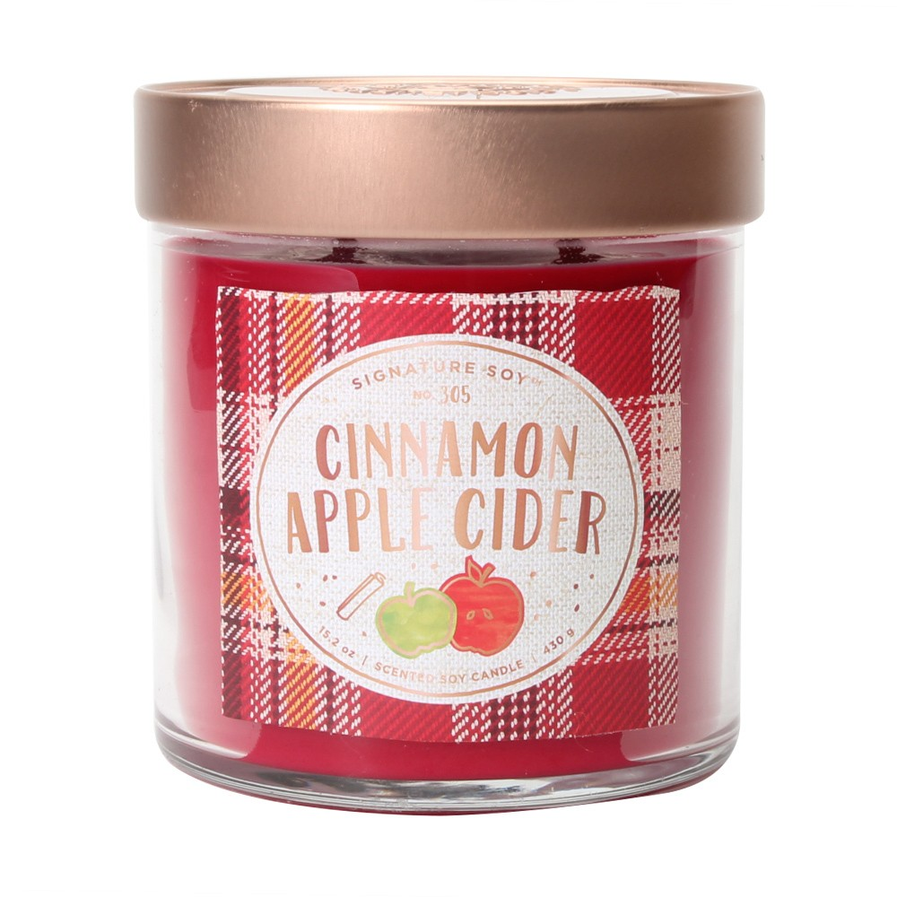 15.2oz Large Lidded Jar 2-Wick Candle Cinnamon Apple Cider - Signature Soy, Red